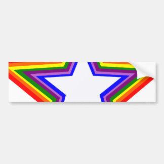Rainbow Star Design Car Bumper Sticker