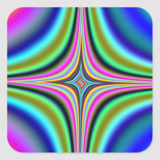 Rainbow Star Fractal Square Sticker