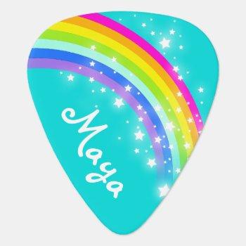 Rainbow Star Girls Aqua Customized Guitar Pick by Mylittleeden at Zazzle