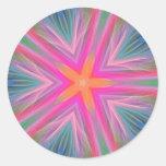 Rainbow Star Kaleidoscope Feather Art Sticker