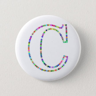 Rainbow Star Letter C Pinback Button
