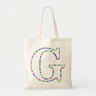 Rainbow Star Letter G Tote Bag