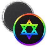 Rainbow Star of David 2 Inch Round Magnet