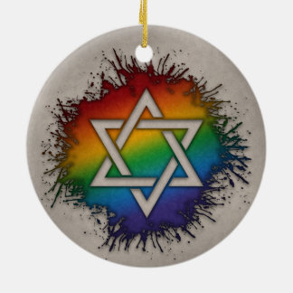 Rainbow Star of David Ceramic Ornament