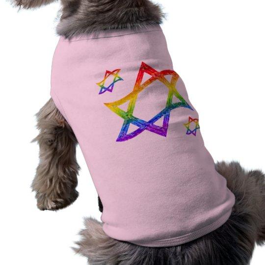 Rainbow Star of David Dog Shirts