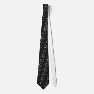 Rainbow Star of David necktie