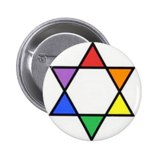 rainbow star of david pinback button
