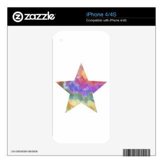 Rainbow Star Skin For iPhone 4S