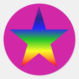 Rainbow star stickers sheet purple background