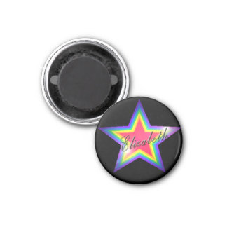 Rainbow Star with Name 1 Inch Round Magnet