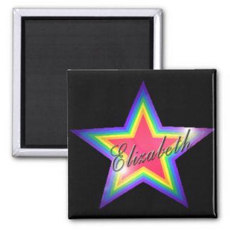 Rainbow Star with Name 2 Inch Square Magnet