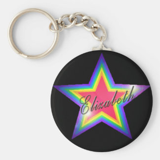 Rainbow Star with Name Basic Round Button Keychain
