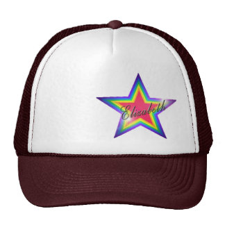 Rainbow Star with Name Trucker Hat