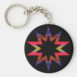 Rainbow Starburst Abstract Pattern Keychain