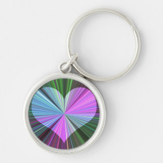 Rainbow Starburst Heart Keychain