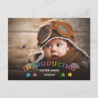 Rainbow Stars | Baby Birth Announcement Postcard