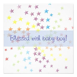 Rainbow Stars Baby Boy Birth Announcement