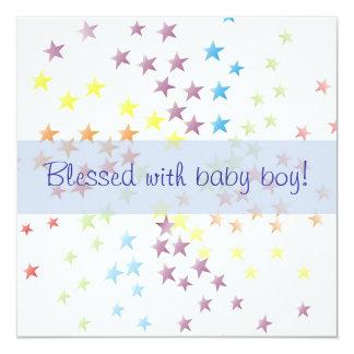 "Rainbow Stars Baby Boy Birth Announcement 5.25"" Square Invitation Card"