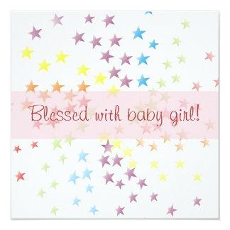 Rainbow Stars Baby Girl Birth Announcement