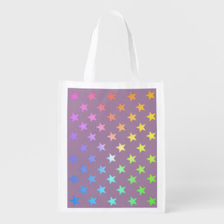 Rainbow Stars ...Choose your own colors. Reusable Grocery Bag