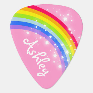 Rainbow stars girls pink personalized guitar pick