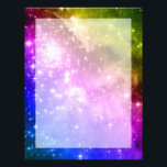 "Rainbow Stars Letterhead<br><div class=""desc"">A digitally painted rainbow colored space image. The original is the giant star-forming nebula NGC 3603.</div>"