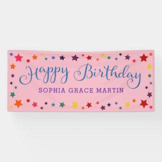 Rainbow Stars on Pink Happy Birthday Kids Banner