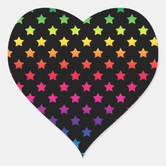 Rainbow Stars over Black Background Pattern Heart Sticker