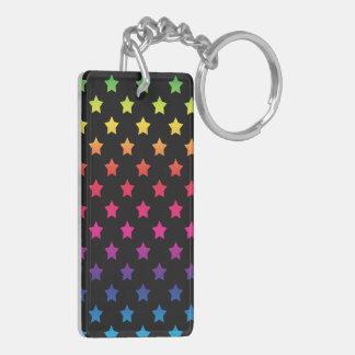 Rainbow Stars over Black Background Pattern Keychain