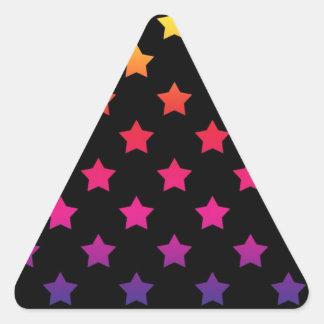 Rainbow Stars over Black Background Pattern Triangle Sticker