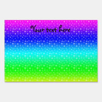 Rainbow stars pattern yard sign