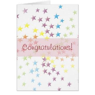 Rainbow Stars Pink Congratulations Card