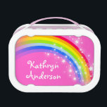 """Rainbow stars pink girls name lunch box<br><div class=""""desc"""">Fun bright rainbow arc with white stars named id lunch box perfect for girls who love bright colors. Customize with your child&#39;s full name. Currently reads Kathryn Anderson. Illustrated and designed exclusively by Sarah Trett.</div>"""
