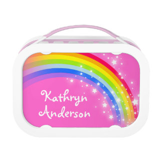 Rainbow Stars Pink Girls Name Lunch Box at Zazzle