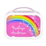 Rainbow stars pink girls name lunch box lunchbox