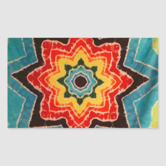 Rainbow Stars Tie Dye PhatDyes Rectangular Sticker