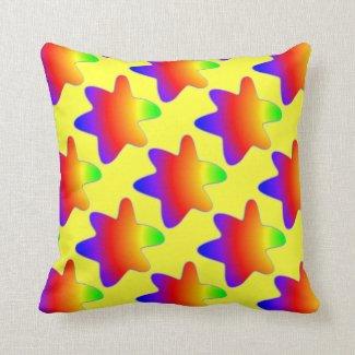 Rainbow Stars Yellow Pillow Made in America