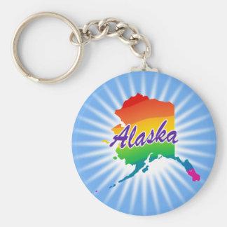 Rainbow State Of Alaska Basic Round Button Keychain