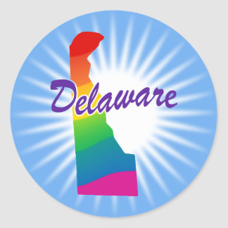 Rainbow State Of Delaware Classic Round Sticker
