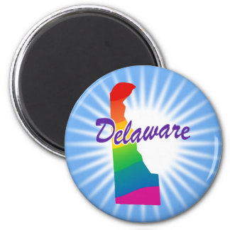 Rainbow State Of Delaware 2 Inch Round Magnet