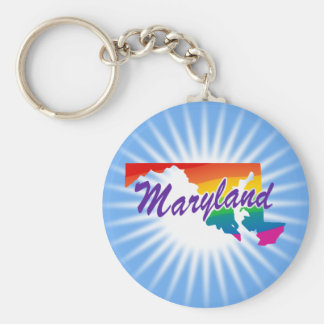 Rainbow State Of Maryland Keychain