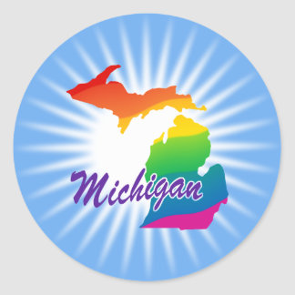 Rainbow State Of Michigan Classic Round Sticker