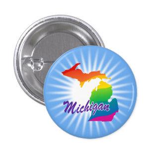 Rainbow State Of Michigan Pinback Button