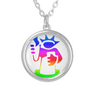 Rainbow Statue Of Liberty Round Pendant Necklace