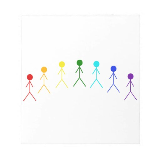 Rainbow Stick Figures - 2 Notepad