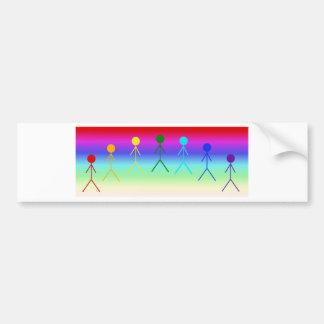 Rainbow Stick Figures (Circle) RainbowBackground Bumper Sticker