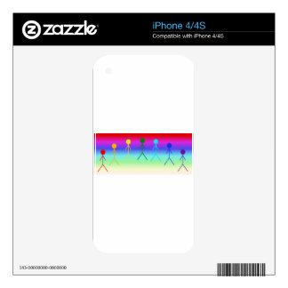 Rainbow Stick Figures (Circle) RainbowBackground iPhone 4 Decal