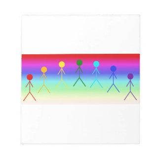 Rainbow Stick Figures (Circle) RainbowBackground Notepad