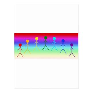Rainbow Stick Figures (Circle) RainbowBackground Postcard