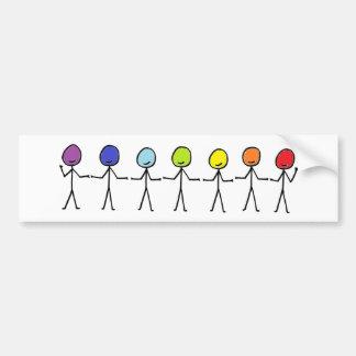 Rainbow Stickmen Car Bumper Sticker